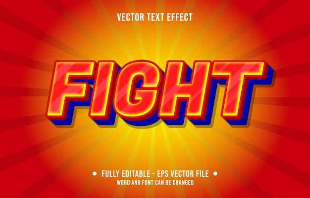 Editable text effect - fight red and blue gradient color style