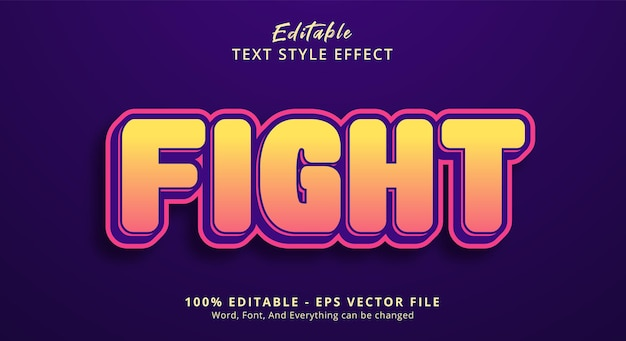 Editable text effect, fight text on comic color style effect