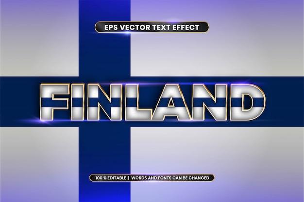 Редактируемый текстовый эффект - финляндия с национальным флагом страны