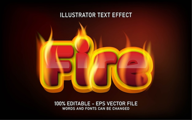 Editable text effect, fire style illustrations