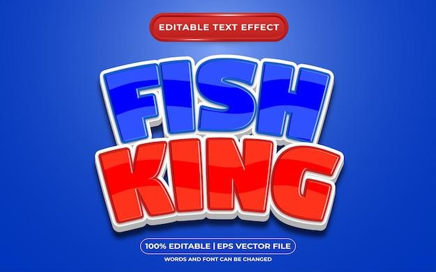 Редактируемый текстовый эффект рыбный король мультяшном стиле
