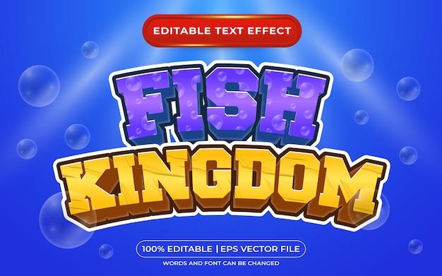 青の背景に編集可能なテキスト効果魚王国3dテンプレート