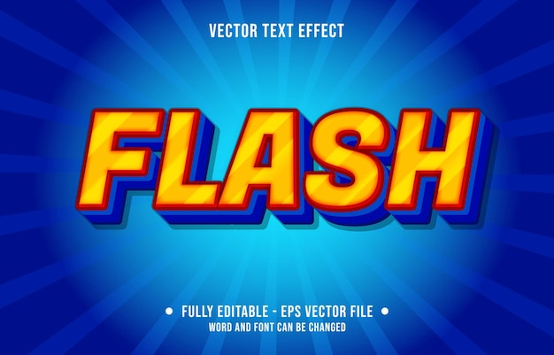 Editable text effect - flash orange and blue gradient color style