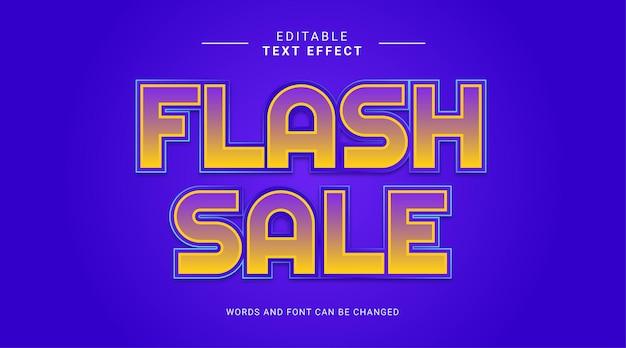 노란색 파란색 그라데이션 색상으로 굵게 편집 가능한 텍스트 효과 플래시 판매 프리미엄 벡터