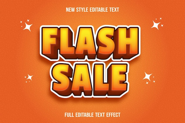 Editable text effect flash sale color yellow and orange
