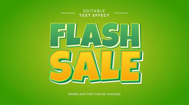 Редактируемый текстовый эффект, флэш-распродажа, зеленый, желтый, жирный стиль