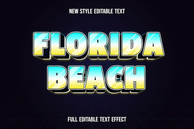 Editable text effect florida beach color blue white and yellow