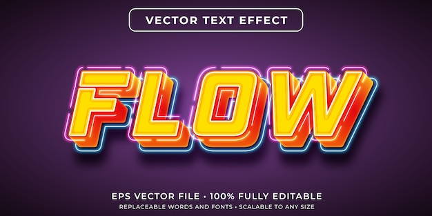 Editable text effect in flowing neon lights style