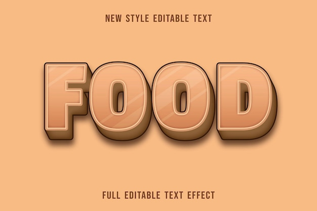 Editable text effect food color cream and brown