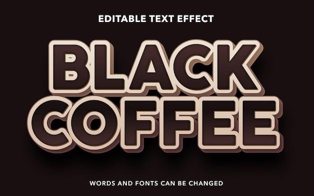 Редактируемый текстовый эффект для стиля текста черного кофе
