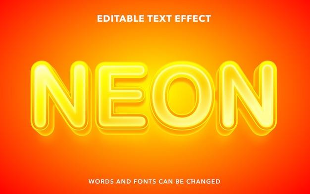 黄色のネオンの編集可能なテキスト効果