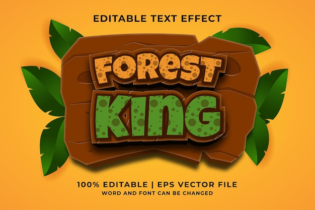 Editable text effect - forest king 3d template style premium vector