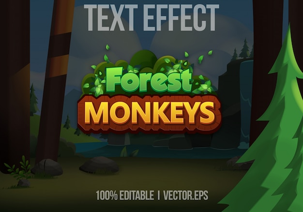 Editable text effect - forest monkeys game logo style