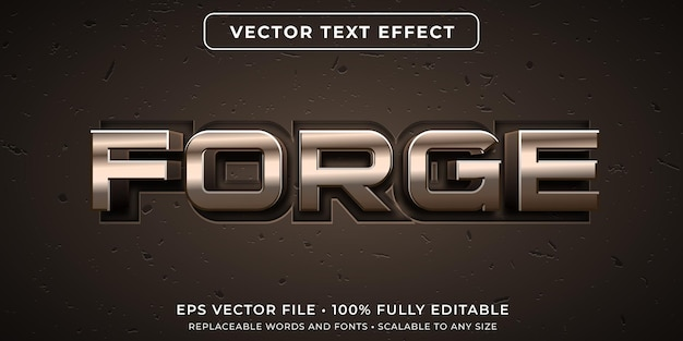Editable text effect in forged metal style