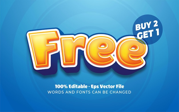 Editable text effect, free buy 2 get 1 style illustrations