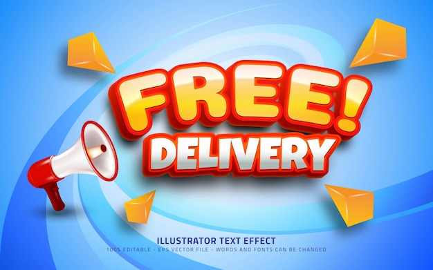 Editable text effect, free delivery style
