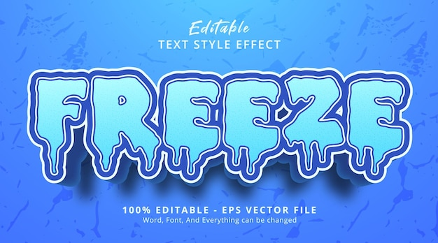 Editable text effect, freeze text on ice style with blue color effect