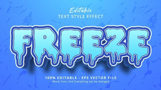 편집 가능한 텍스트 효과, 파란색 효과가 있는 얼음 스타일의 텍스트 고정