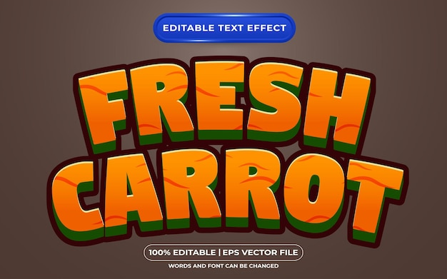 Редактируемый текстовый эффект свежей моркови мультяшном стиле