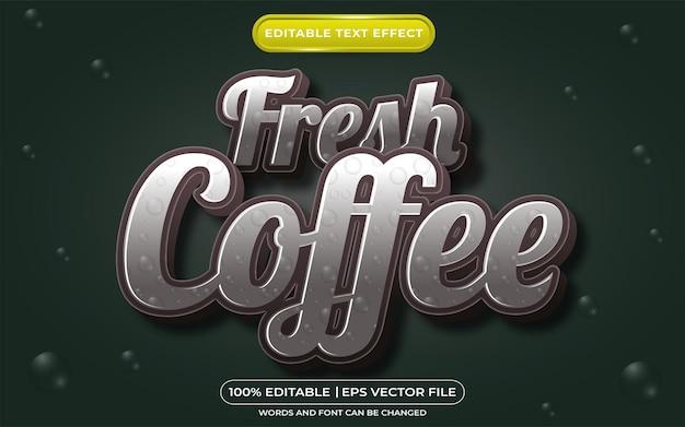Редактируемый текстовый эффект свежего кофе в стиле шаблона