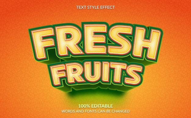 편집 가능한 텍스트 효과, 신선한 과일 텍스트 스타일
