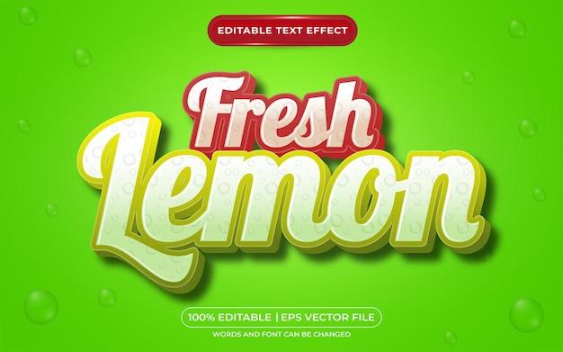 Редактируемый текстовый эффект свежего лимона в стиле шаблона