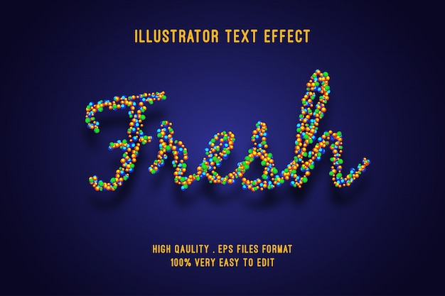 Editable text effect - fresh spark bubble style