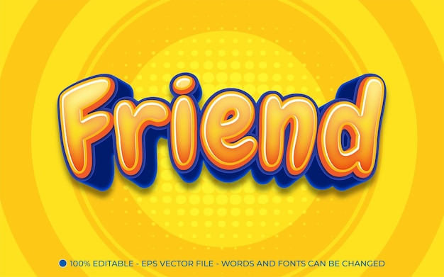 Editable text effect, friend style illustrations