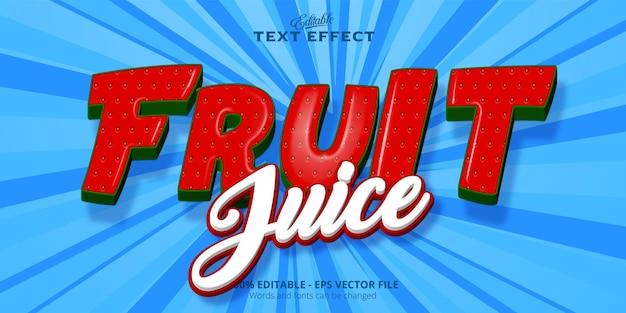 Редактируемый текстовый эффект фруктовый сок текст