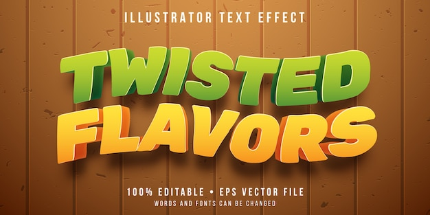 Editable text effect - fruits flavor twist style