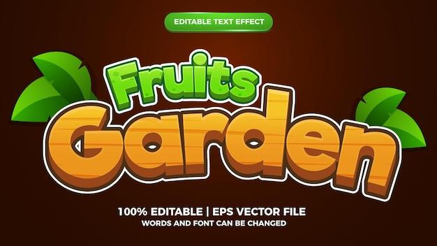 편집 가능한 텍스트 효과 - 과일 정원 만화 만화 스타일의 3d 템플릿