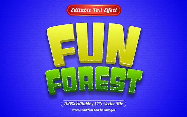 Редактируемый текстовый эффект забавный лесной шаблон в стиле