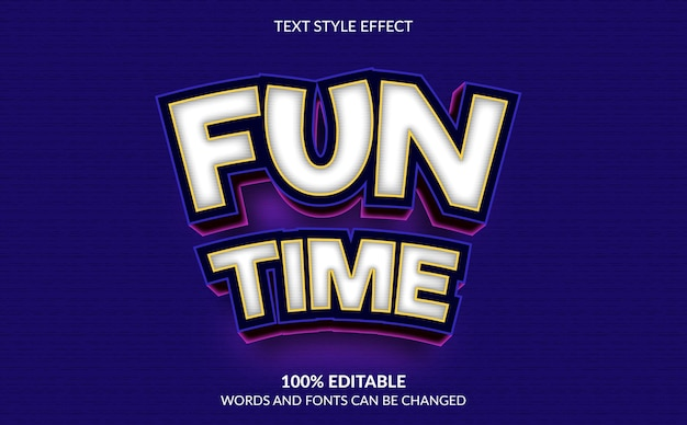 Editable text effect, fun time text style