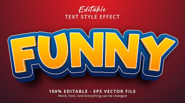 Editable text effect, funny text on cartoon color style effect