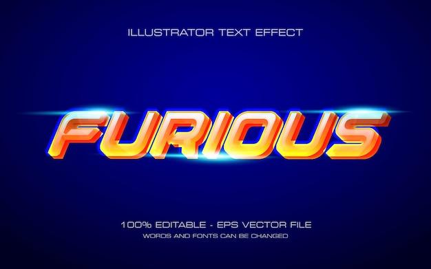 Редактируемый текстовый эффект, яростные иллюстрации в стиле