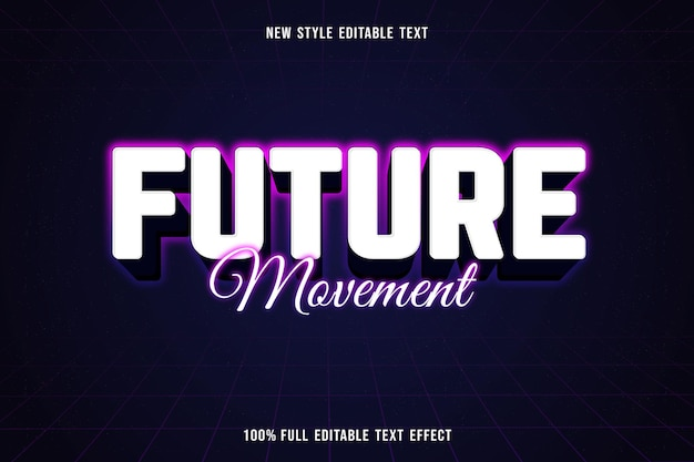 Editable text effect future movement color white purple blue and black