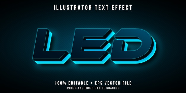 Editable text effect - futuristic neon led light style
