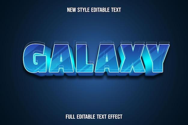 Редактируемый текстовый эффект галактики цвет синий градиент