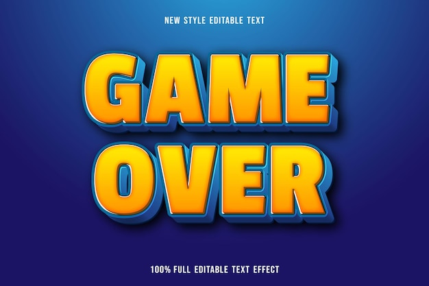 Editable text effect game over color yellow and blue