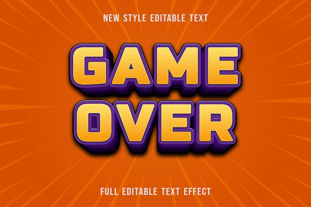Editable text effect game over color yellow and purple