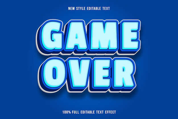 青と白の編集可能なテキスト効果ゲームオーバー