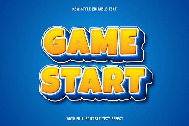 편집 가능한 텍스트 효과 게임 시작 색상 노란색과 파란색