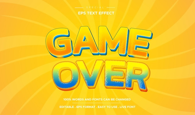 Editable text effect game over style