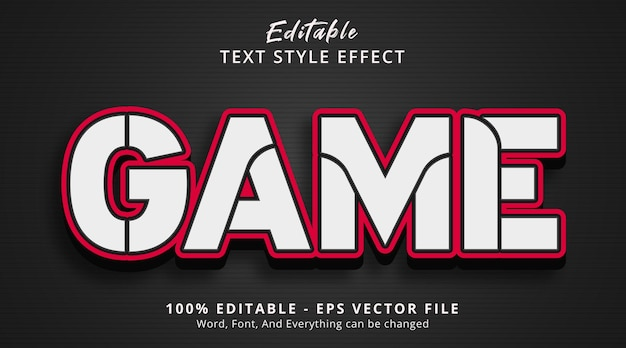 Editable text effect, game text on bold style effect