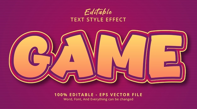 Editable text effect, game text on kids color style effect