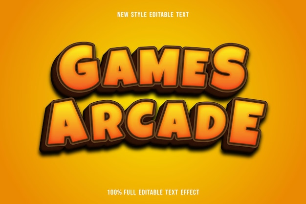 Editable text effect games arcade color yellow and brown