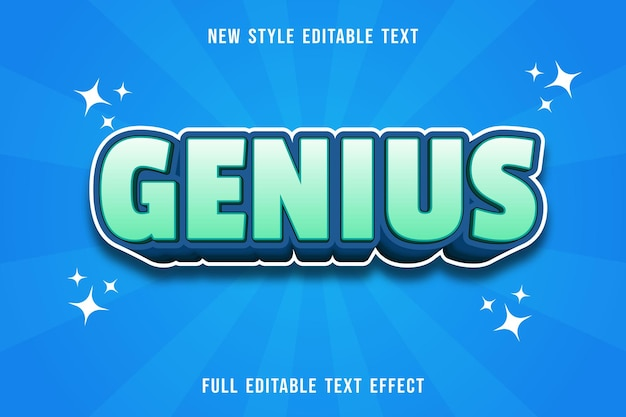 Editable text effect genius colorgreen and blue