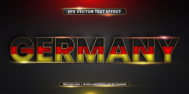 Editable text effect, germany word with national flag