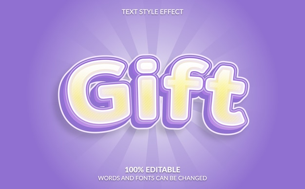 Editable text effect, gift text style