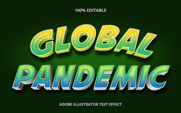 Редактируемый текстовый эффект - глобальный стиль заголовка пандемии